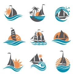 Sailboat and yacht icons vector
