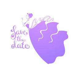 save date image beautiful girl in wedding vector image