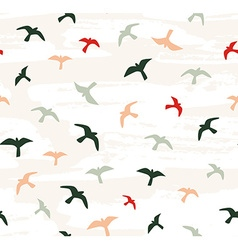 Seamless flying birds seamless pattern vector image