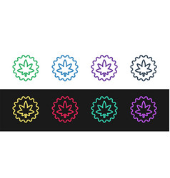 set line medical marijuana or cannabis leaf icon vector image