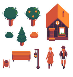 set of autumn city elements in vector image