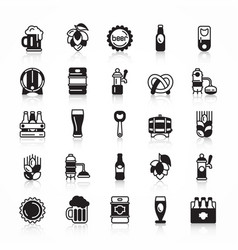 Set of beer icons with shadow vector