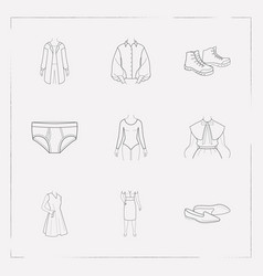 set of clothing icons line style symbols with vector image