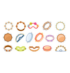 set of icons tambourines percussion musical vector image