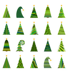 set of twenty different christmas trees vector image