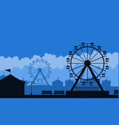 Silhouette of amusement park scenery background vector