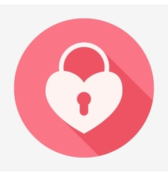 Single flat heart padlock icon vector image