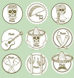 Sketch Mexican logotypes vector image