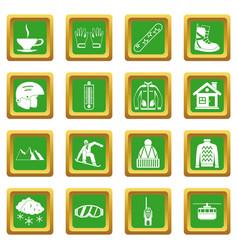 Snowboarding icons set green vector