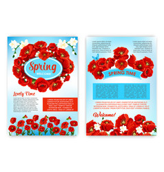 Spring holidays brochure template with flowers vector