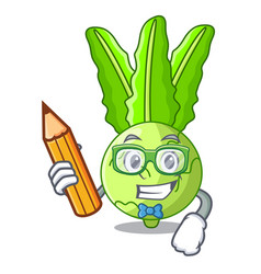 Student with book character kohlrabi on a wooden vector