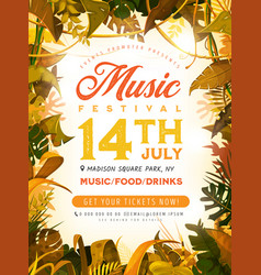 summer festival poster with tropical leaves vector image