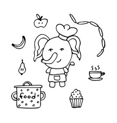 Talented elephant the cook with a serving spoon vector