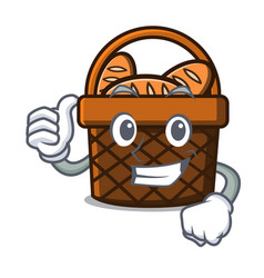 thumbs up bread basket character cartoon vector image