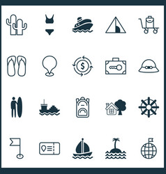 Travel icons set with thongs tanker bikini and vector
