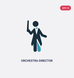 Two color orchestra director icon from music vector