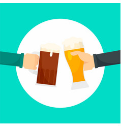two hands of beer background flat style vector image