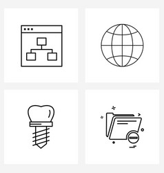 Universal symbols 4 modern line icons map vector