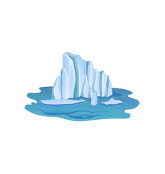 view on large blue iceberg floating freely in open vector image