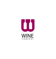 W letter wine logo icon vector