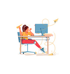 Woman having boring weekdays and throw paper vector