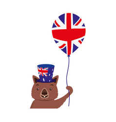 Wombat with hat and balloon australian celebration vector