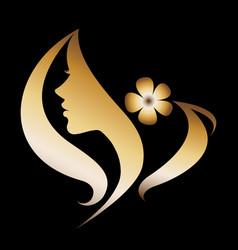 Women silhouette icon on black vector