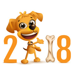 yellow dog symbol 2018 year on chinese calendar vector image