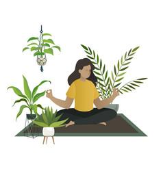 Yoga at home meditation young woman or mom vector