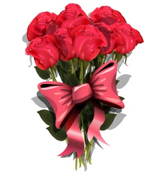 bouquet of roses with a bow vector image vector image