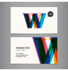 Business card template letter W vector image