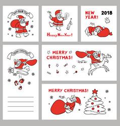 cute set sketch of funny santa vector image