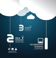 Infographic technology cloud paper cut style vector image vector image