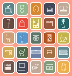 Living room line flat icons on orange background vector image vector image