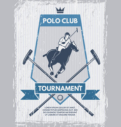 retro poster of polo club template with vector image