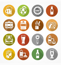 set of beer icons on color vector image