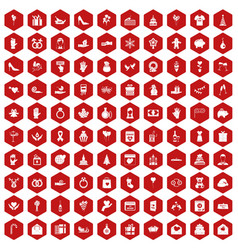 100 gift icons hexagon red vector image vector image