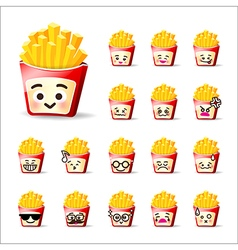 Collection of difference emoticon french friest vector image
