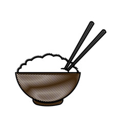 drawing bowl of rice and chopsticks cooked dinner vector image vector image