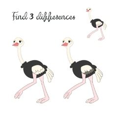 Find differences kids layout for game ostrich vector image vector image