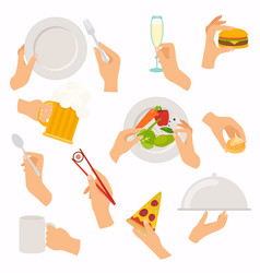 flat design of hand icons set concept of hand vector image vector image