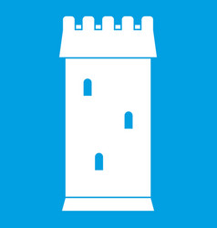 fortress tower icon white vector image