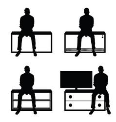 man silhouette set sitting leisure on stuff vector image vector image