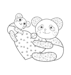 Panda with heart kid coloring book page vector image