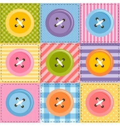 patchwork background with sewing buttons vector image