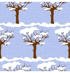 Seamless pattern with cartoon trees in winter vector image vector image
