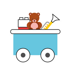 Train wagon toy with toys vector