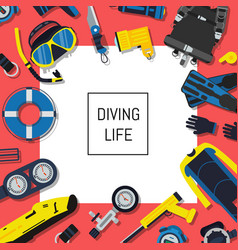 Underwater diving equipment background with vector