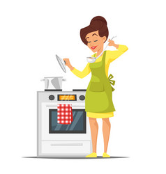 Housewife trying the dish near the stove vector