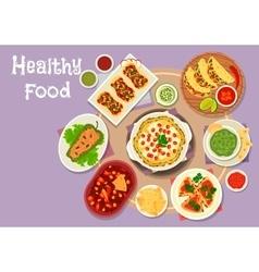 Mexican cuisine spicy snacks icon for menu design vector image